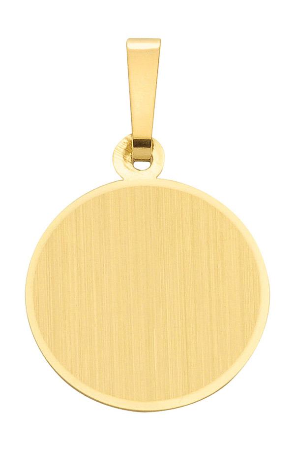 monischmuck mode anh nger gravurplatte rund 14mm 8kt gold. Black Bedroom Furniture Sets. Home Design Ideas