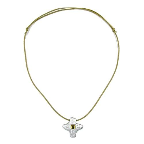 Kette, Anhänger Kreuz matt-si, oliv
