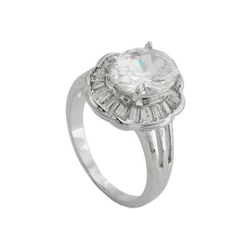 Ring, Gr. 54, Blume mit weißen Zirkonias