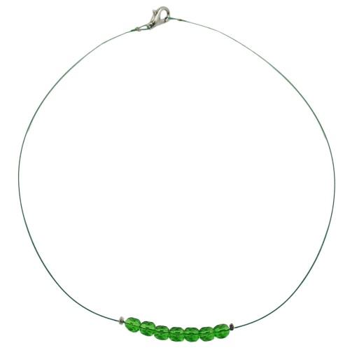 Kette, Glas, Schliffperle grün