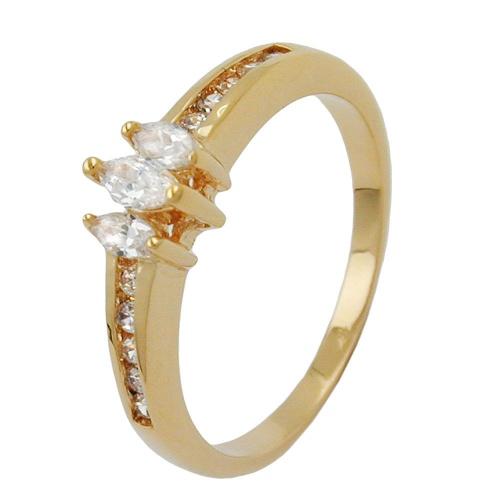 Ring, Gr. 62, mit Zirkonia, vergoldet 3 Micron