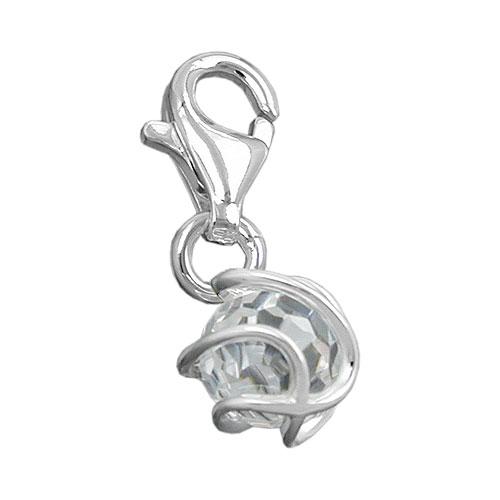 Anhänger 7mm Charm Zirkonia weiß facettiert umwickelt Silber 925