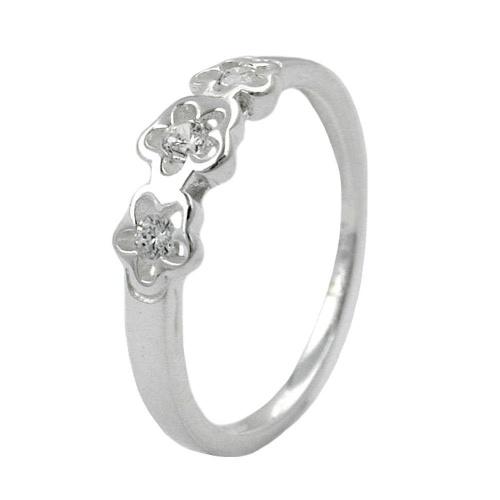 Ring Gr. 50 mit 3 Blumen, Zirkonia, Silber 925