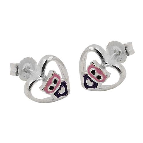 Stecker 8mm kleine Eule im Herz lila-pink glänzend Silber 925