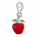 Anhänger Charm 925 Silber Apfel Rot